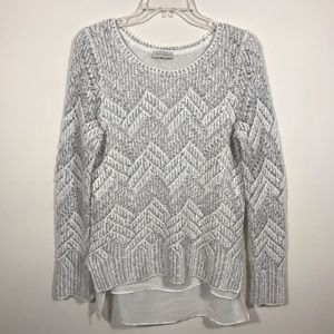 Lucky Brand Layered Chevron Metallic Sweater